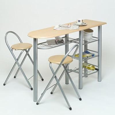 Küchenbar mit 2 Stühlen, aus MDF, Buchendekor