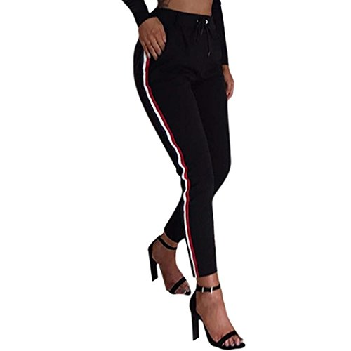Abbigliamento Coulisse Slim Matita Estivi Libero Pantaloni Pantaloni Waist Fit Pantalone Donna Tuta Fashion Pantaloni High Tempo Nero Lunghe Ragazza A Chic wXxqSzHA