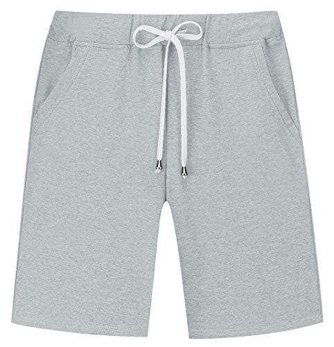 Janmid Men's Casual Classic Fit Cotton Elastic Jogger Gym Shorts Light Grey M
