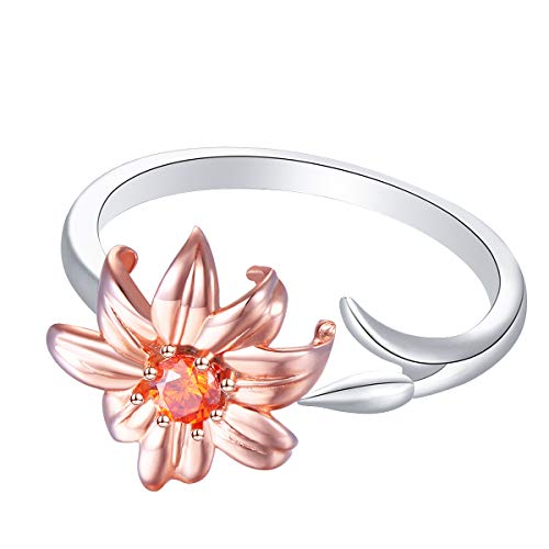 Sterling Silver White Lily Flower Adjustable Ring Size 5 6 7 8 9