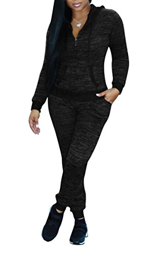 Remelon Womens Long Sleeve Bodycon 2 Piece Outfits Hooded Zipper Jacket and Long Pants Sweatsuits Set Tracksuits Black M