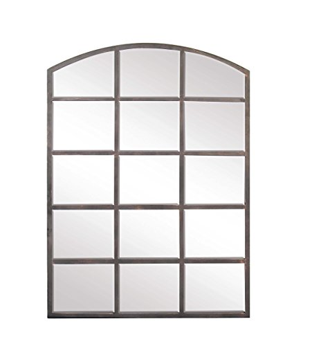 (Deco 79 53393 Modern Wood and Iron Arched Window Paneled Glass Wall Mirror, 40