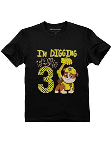Tstars - Paw Patrol Rubble Digging 3rd Birthday Official Toddler Kids T-Shirt 5/6 Black