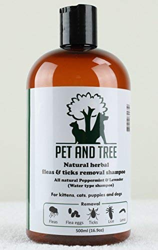 Natural Herbal Fleas and Ticks Removal Shampoo (Peppermint + Lavender) for Dogs and Cats