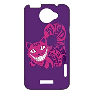 Alice in Wonderland We're all mad here Cheshire Cat Smile Face Unique Durable Hard Plastic Case Cover for HTC One X + Custom Design Fashion DIY