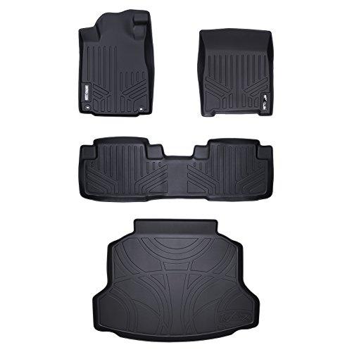 Tray Set Floor - SMARTLINER Floor Mats (2 Rows) and Cargo Liner Set Black for 2012-2016 Honda CR-V