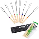 GWHOLE Marshmallow Roasting Sticks,32 Inches Telescoping Smores Skewers for Hotdog Camping, Set of 8