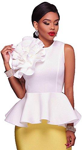 Kearia Women Elegant Corsage Flower Sleeveless Flounced Hem Tunic Tank Blouse Shirt Top White XXLarge