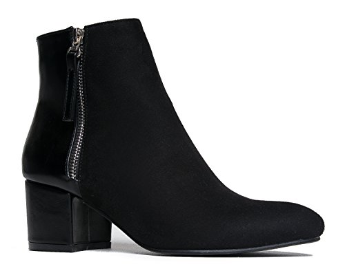 Front Lace Ankle Boot - J. Adams Comfortable Low Ankle Boot, Black Suede, 10 B(M) US