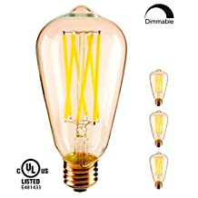 YUURTA ST64 6.5W Dimmable 2200K/2700K (Warm Soft White) Antique Retro Vintage Edison Style LED Filament Light Bulb Medium Base E26 700 Lumens 110-120V for Industrial Style Metal Cage Pendant Ceiling Light Fixture Wall Sconce String Chandelier Indoor/Outdoor Glass Lamp Commercial Home Energy Saving (60-65W Equivalent Incandescent Replacement) Omnidirectional UL Listed (2700K, Pack of 3)