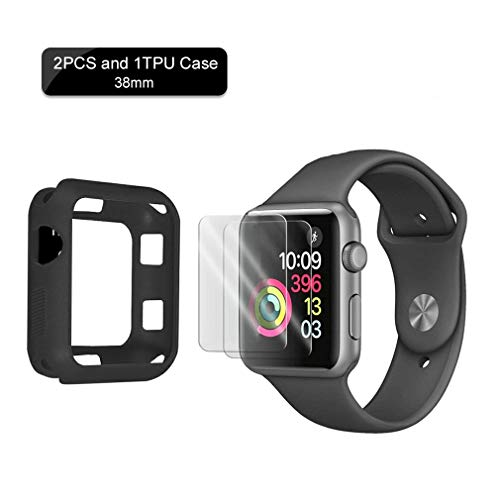 SZFY-TAIOW for Apple Watch Screen Protector Suit (Apple Watch Tempered Glass Screen Protector 2PCS and 1TPU Case) for 38mm Apple Watch Series3/2/1 Half Coverage Bubble-Free/HD Clear Anti-Fingerprint (Toughened Glass)
