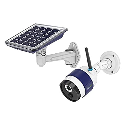 FREECAM Solar Powered Camera -HD Wireless WiFi IP Security Camera with IP65 Waterproof 6800mAh P2P 5M IR PIR Sensor Controlled by App (Android And iOS) for Smart Home (C340)