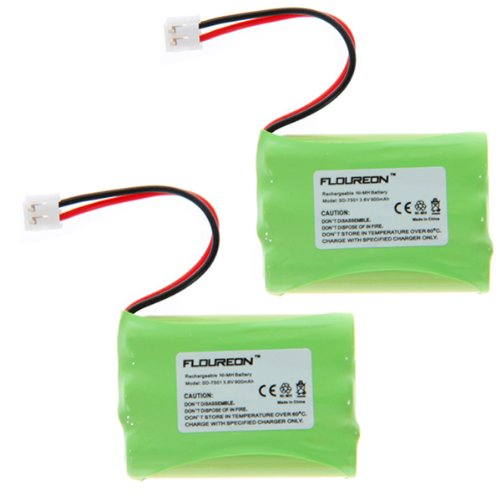 2 Packs Floureon Rechargeable Cordless Phone Battery for V-Tech 89-1323-00-00 Model 27910 Cordless Telephone Battery Replacement Pack, Office Central