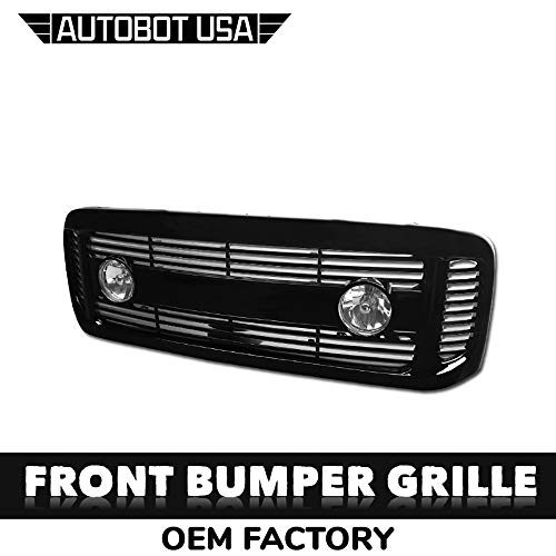 AutobotUSA Glossy Black 99-04 For Ford F250 / F350 / F450 / F550 Horizontal Front Hood Bumper Grill Grille ABS with Fog Lights ()