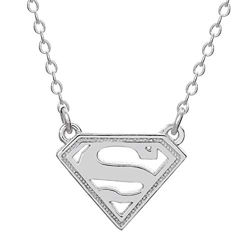 (DC Comics Offically Licensed Jewelry for Women and Girls Superman Superhero Logo Sterling Silver Pendant Necklace, 18