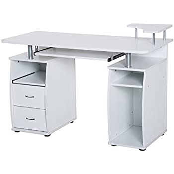 HomCom Home Office / Dorm Room Computer Desk With Keyboard Tray   White