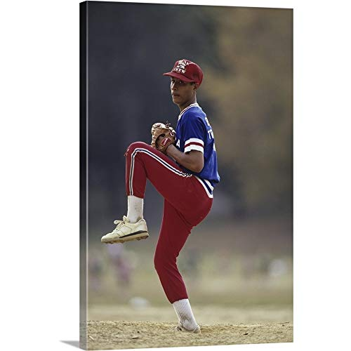 - Young Baseball Pitcher in Action Canvas Wall Art Print, 24