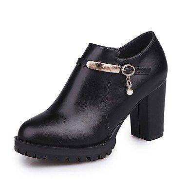 Heart&M Damen Schuhe PU Herbst Modische Stiefel Stiefel Blockabsatz Runde Zehe Reißverschluss Für Normal Schwarz Rot black