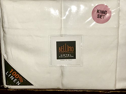 Bellino Fine Italian KING SIZE LINEN Sheet Set - 100% Linen (white) ()