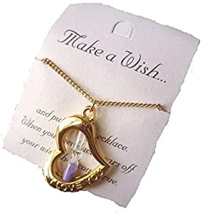 Make A Wish Heart Hourglass Charm Necklace