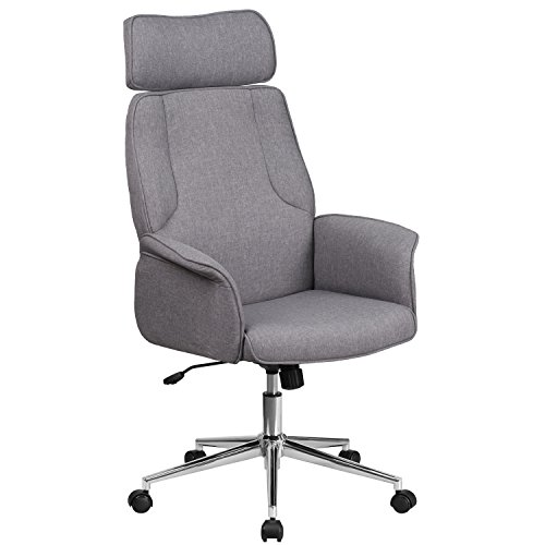 - Flash Furniture High Back Gray Fabric Executive Swivel Chair with Chrome Base and Fully Upholstered Arms