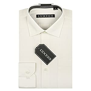 Luxton Cotton Poly Shirt Collection Regular Fit (Off White 639,Small/Neck:14-14 1/2, Sleeve:32/33)