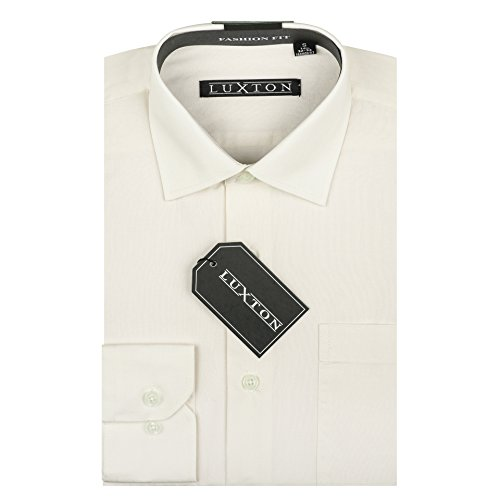 - Luxton Cotton Poly Shirt Collection Regular Fit (Off White 639,Large/Neck:16-16 1/2, Sleeve:32/33)