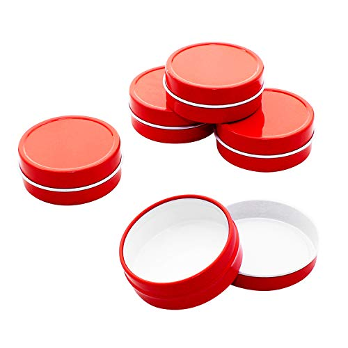 (Mimi Pack 1 oz Tins 24 Pack of Shallow Slip Top Round Tin Containers with Lids For Cosmetics, Party Favors and Gifts (Red))