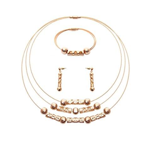 MagiDeal Multi-strand Heart Charms Necklace Collar Bib Earring Bracelet Jewelry Set - Gold ()