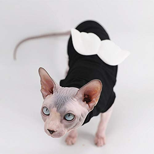 Sphynx Hairless Cat Cute Breathable Summer Cotton Dress Skirt Shirts with Wings Pet Clothes,Round Collar Kitten T-Shirts with Sleeves, Cats & Small Dogs Apparel 22