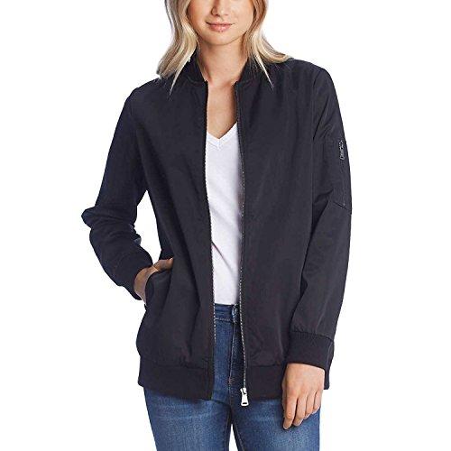 Jacket Blazer Silk Black (Bernardo Ladies' Bomber Jacket, Black (L))