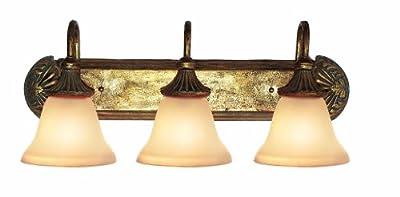 Woodbridge Lighting 53002-AGD Kensington Park 3-Light Bath Light, Antique Gold