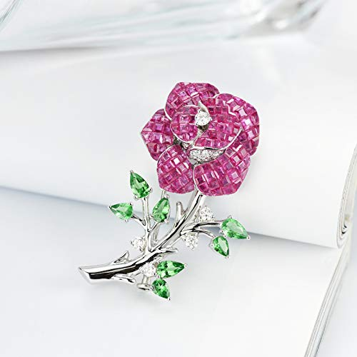 (Unique 18k platinum flower ruby diamond pendant beautiful temperament pendant brooch dual-use birthday gift present necklace for women)