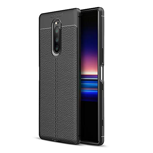 Olixar for Sony Xperia 1 Leather Back Case - Protective Cover - Shock Absorption - Leather Style - Attache - Wireless Charging Compatible - Black