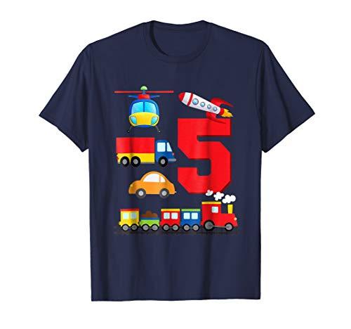 Boys Transportation 5th Birthday T-Shirt Trains Space Trucks