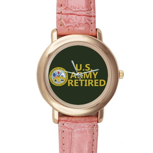 Gifts for girls or ladies US Army Retired Pink Leather Alloy High-grade Watch