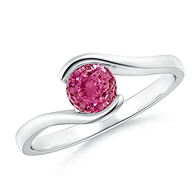 Angara Solitaire Bezel Square Pink Sapphire Ring with Diamond in Platinum AjH4N
