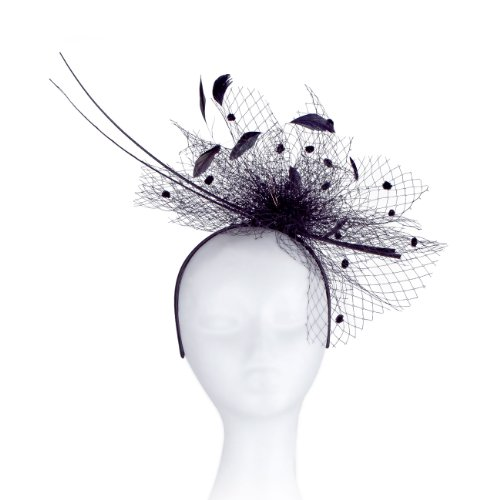 [Occasion Hats for Women, Slim, Simple, Netted Fascinator for Weddings or the Races, with Double Peacock Quills. Velvet Balls on the net with Sprigs of Sequins and Feathers. Six Stunning Colour Options, White, Black, Royal Blue, Champagne, Turquoise, Heather Pink, Our 'Barnwell' Fascinator. Great] (Czech Costumes Jewelry)