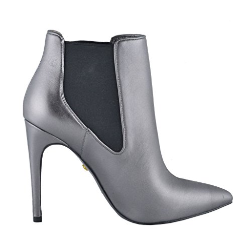 Cavalli Boots Silver Shoes High Women's Just Gray Gray Leather Heel Ankle RwAWOSq
