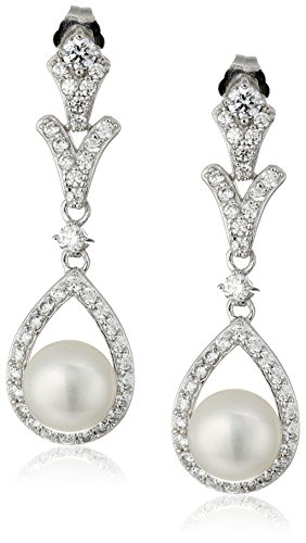 Platinum-Plated Sterling Silver Swarovski Zirconia Freshwater Cultured Pearl Pear-Shape drop Vintage Earrings (Twist Earrings Shape Pear)