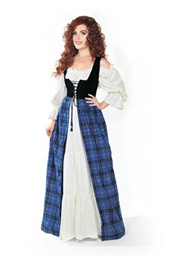 Peasant Costumes (Renaissance Scott Tartan Two Tone Irish Dress & Chemise Set (L/XL, Blue))
