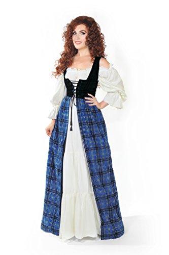Reminisce Renaissance Scott Tartan Two Tone Irish Dress & Chemise Set (L/XL, Blue)