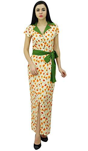 Bimba Robe Longue Robe Imprimée De Palme Avec Col Pleine Longueur Robes Maxi Occasionnels Hors Blanc Et Vert
