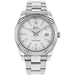 NEW Rolex Datejust II 41MM 18K White Gold Bezel Stainless Steel Mens watch 116334 WIO