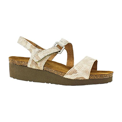 Naot Footwear Women's Pamela Gray Lizard Leather Sandal, Beige Snake Leather,Size - 38