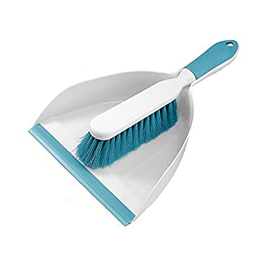 Everclean Dustpan and Brush Set with Ergonomic Brush Design, Aqua/White (6670)