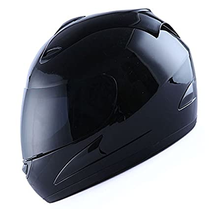 c6a00db4 Amazon.com: Motorcycle Street Bike Glossy Black Full Face Helmet + Two  Visors: Smoked & Clear: Automotive