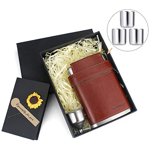 (GENNISSY 304 18/8 Stainless Steel 8oz Flask - Brown Leather with 3 Cups and Funnel 100% Leak Proof WITH GIFT BOX)