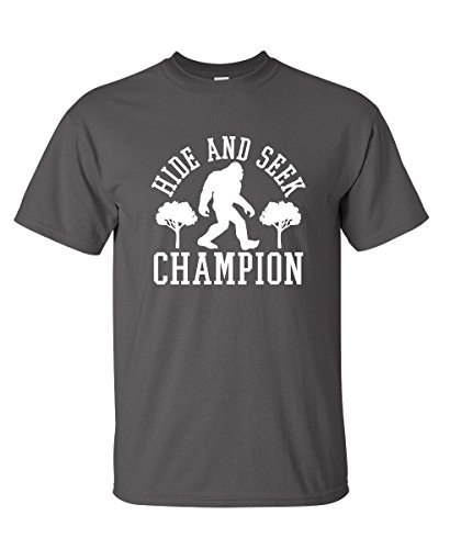 Feelin Good Tees Bigfoot Hide And Seek Champion Sarcastic Novelty Sarcastic Humor Funny T Shirt 2XL Charcoal1