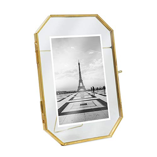 Isaac Jacobs 5x7, Antique Gold, Vintage Style Octagon Brass and Glass, Metal, Floating Desk Photo Frame (Vertical), with Locket Closure for Pictures Art, More ()